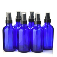 6pcs 4 OZ 120ml Cobalt Blue Glass Bottle With Black Fine Mist Sprayer Boston Round Thick