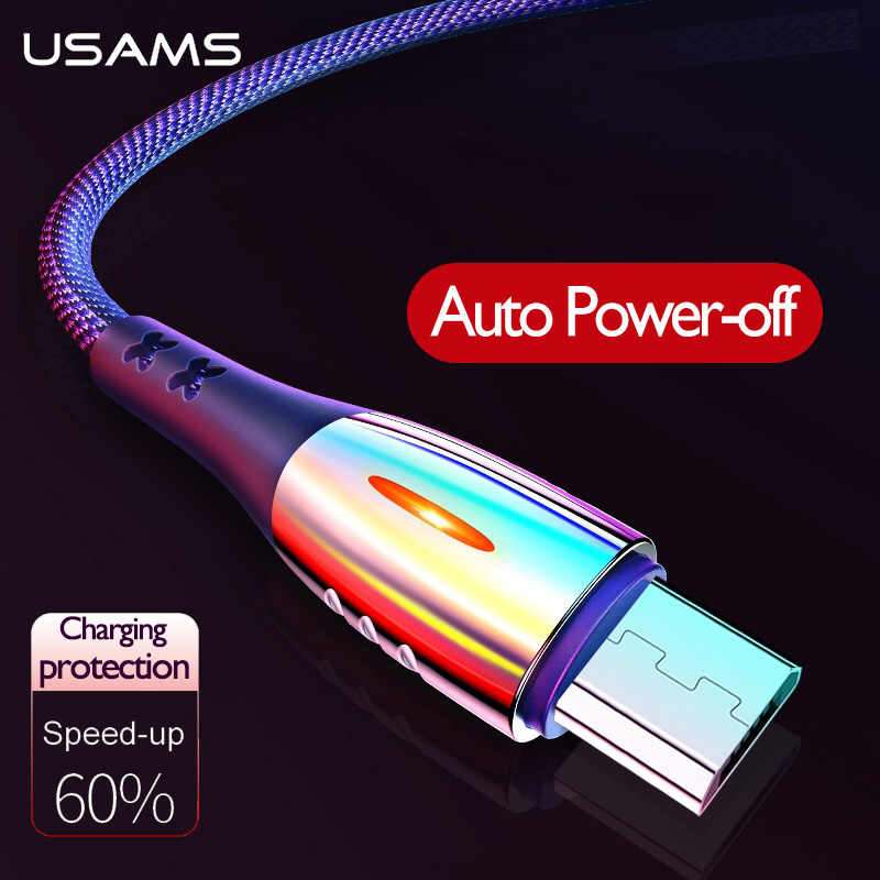 USAMS Micro USB Auto Putuskan Kabel QC3.0 Usb Cepat Pengisian Perlindungan Smart Power Off Kabel Data Kabel Android MICRO USB