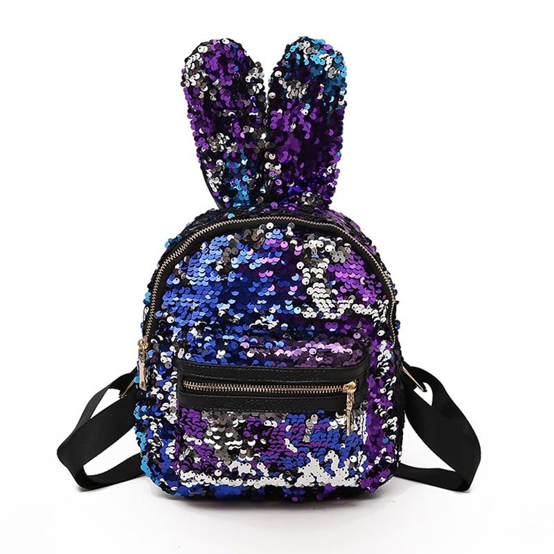 2018 милые длинные уши кролика Для женщин Украшенные блестками сумки женские Роскошные кожаный рюкзак двойной плечо рюкзак для подростков де...