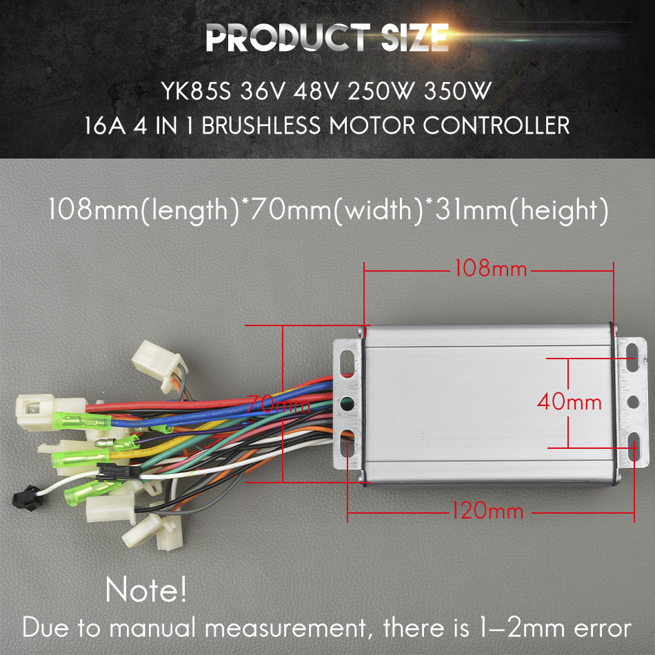 Factory sales Yk85s 36v/48v 250w/350w 16A electric bike Brushless ...
