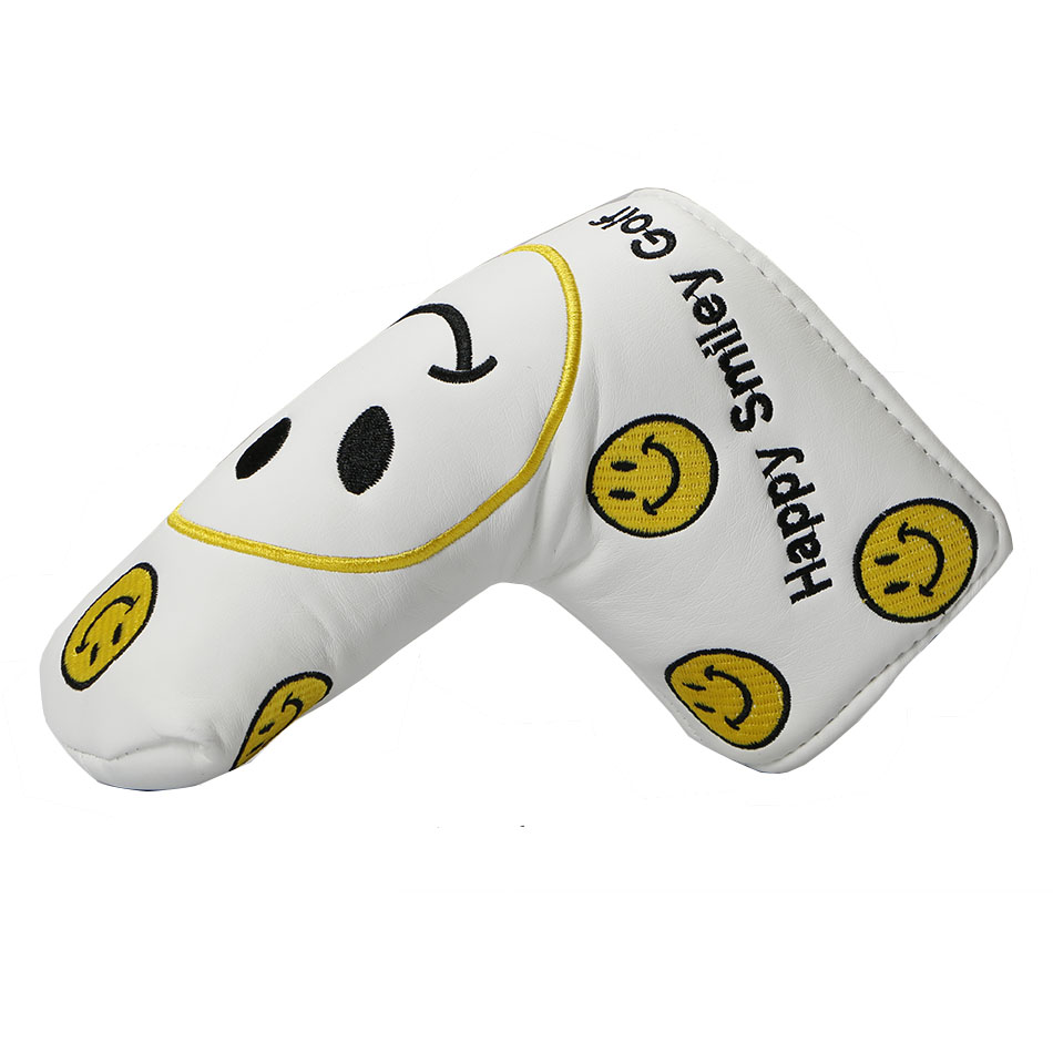 Golf Headcover PU Putter Headcover Smiling Face Pattern Golf Clubs Cover Free Shipping