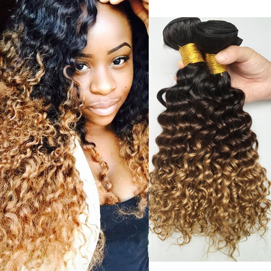 Very Cheap Mongolian virgin Hair Deep Wave Human Afro Kinky Curly 3Bundles Ombre Blonde Sexy Formula Model Style