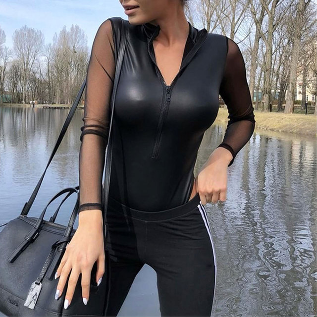 2018 Female sexy mesh pu leather bodysuits oversized combinaison romper long sleeve perspective slim bodycon jumpsuits VKJU1080