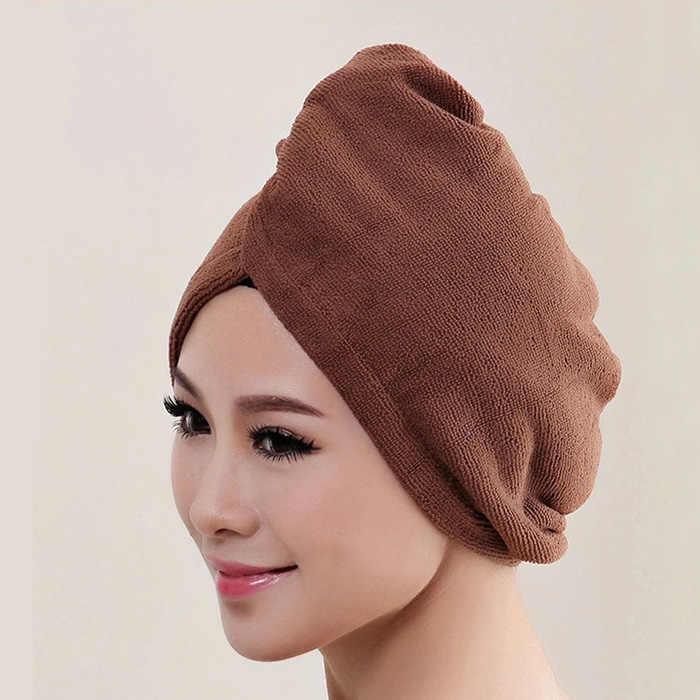 Microfibre serviette de bain cheveux sèche chapeau chapeau séchage rapide dame bain outil nouveau chapeau casquette unisexe 2019