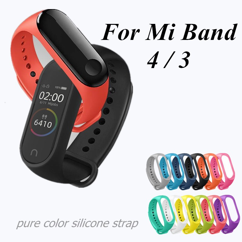 Pure Color Silicone Strap For Xiaomi Mi Band 4 3 Bracelet Replacement Wrist Band Straps MiBand 4 Miband 3 Straps