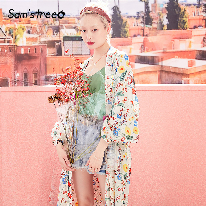 Samstree Women Floral Kimono Cardigan with Waist Belt Long Summer Thin Coat Plus Size Boho Trench