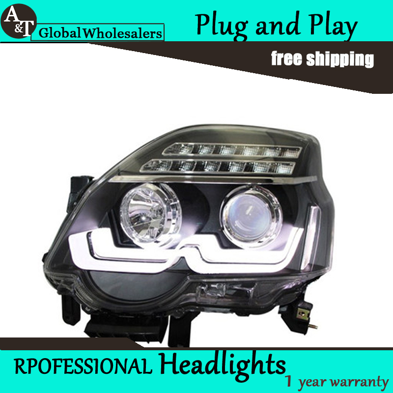 Car Styling for Nissan X-trail LED Headlight assembly New Design LED DRL Lens Double Beam H7 with hid kit 2pcs.