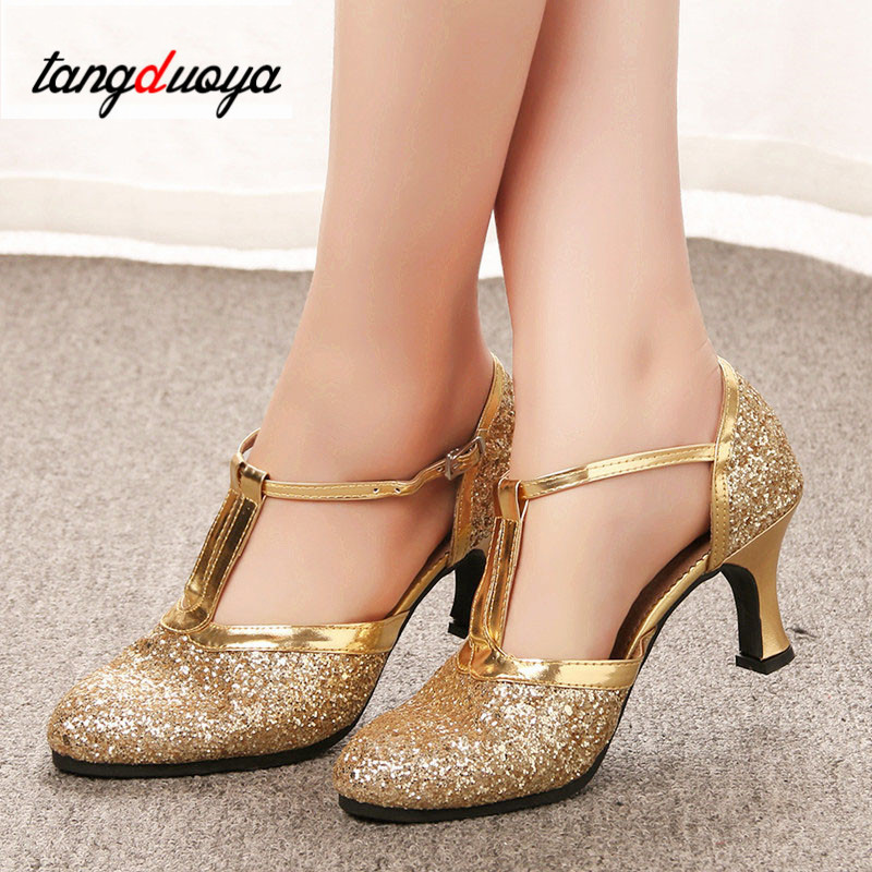 Latin Dance Shoes Woman Gold Silver Shoes Women High Heel Ballroom Jazz Dancing Shoes For Women Zapatos De Baile Latino Mujer