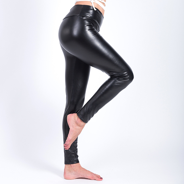 Winter Warm Leggings Thickening Black Leather Leggings High Waist Pants Leggings Casual Warm Solid Faux Leather Leggins