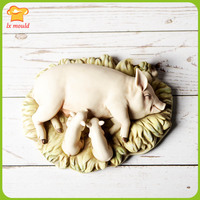 2019 new hot selling handmade garden style pig mother soap candle silicone mold home decoration concrete plaster tool