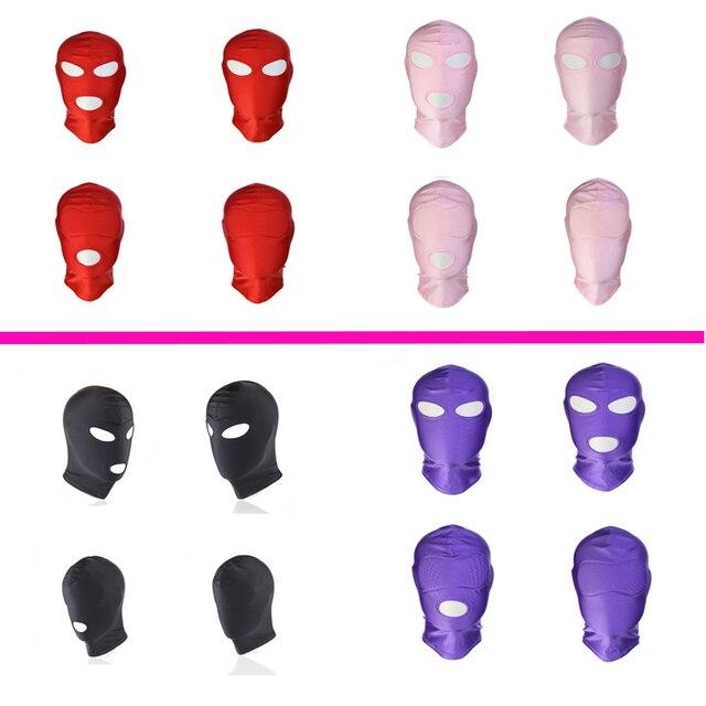 Erotyczne kaptur maska Sex zabawki Bondage fetysz kaptur maska dokręcić oddychające otwarte usta maski na oczy BDSM Cosplay Sex zabawki erotyczne nakrycia głowy