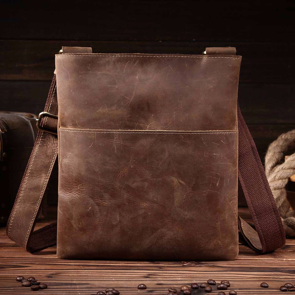 NEWEEKEND Retro Casual Genuine Leather Cowhide Crazy Horse Thin Slight Buckle Shoulder Crossbody iPad Bag for Man 8021-2 neweekend 1005 vintage genuine leather crazy horse large 4 pockets camera crossbody briefcase handbag laptop ipad bag for man