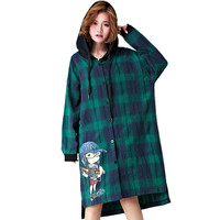 Spring Autumn Long Sleeve Dress Plus Size 2018 Korean Fashion Harajuku Casual Cartoon Print Hooded Women Plaid Shirt Dress
