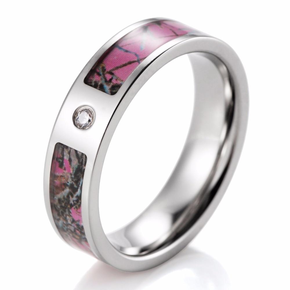 Women Pink Camo Engagement Ring Titanium CZ Crystal Mossy