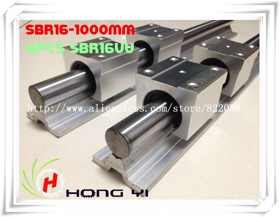 Envío gratuito: 2 unids SBR16 guías lineales L 1000mm soporte lineal de eje de carril + 4 unids SBR16UU rodamiento lineal bloques