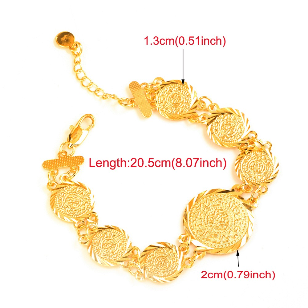 Ethlyn Islam Coin Bracelets For Women Trendy Gold Color Link Chain Bracelets  Dubai Gold Color Jewelry Wholesale B44B