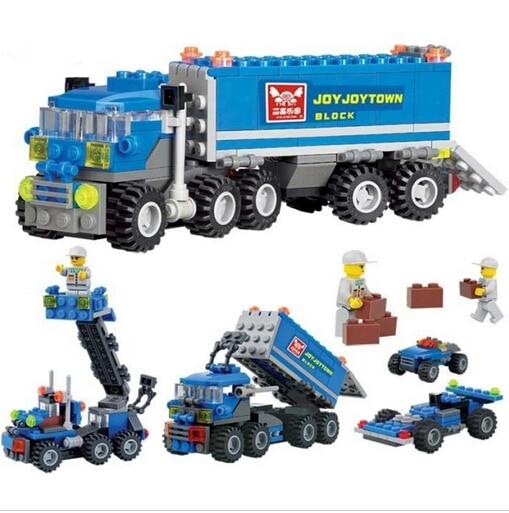 Chaud 163 pièces enfants cadeau de noël éclairer jouets éducatifs Dumper camion bricolage jouets blocs de construction, enfants jouets playmobile