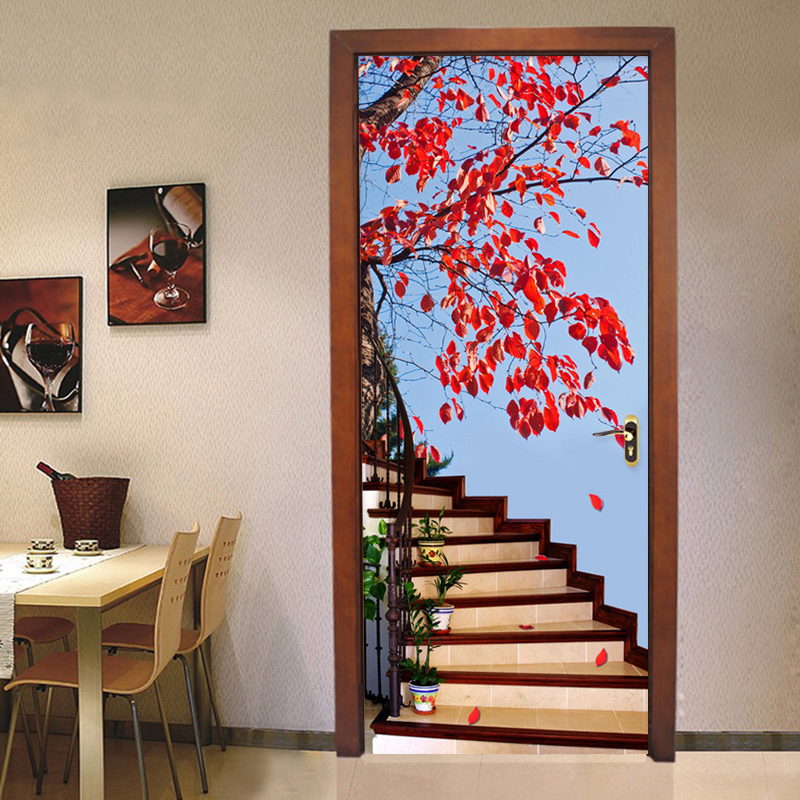3D Stereo Stairs Red Tree Photo Wallpaper Living Room Study Classic Home Decor Wall Sticker Mural PVC Wallpapers Papel De Parede classic household black 3d photo wallpaper for walls in rolls papel de parede living room tv exfoliator wall mural stickers