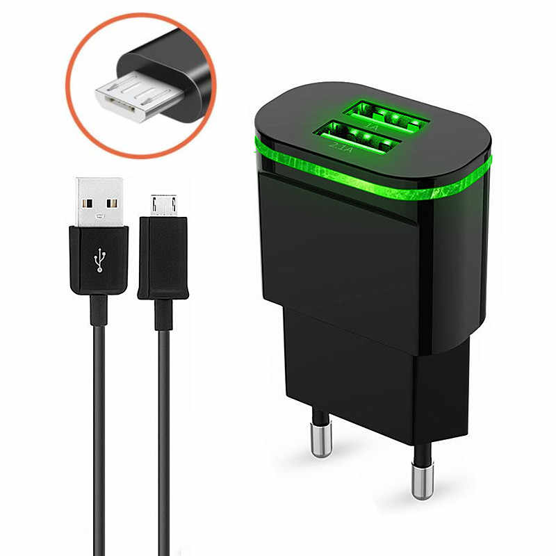 5V 2A USB Mobile Phone Charger + Micor USB Charge for Xiaomi Redmi Note 5 PLUS 4X huawei P7 samsung lg htc sony Oukitel C8 K3 K6