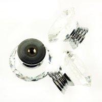 Promotion 10Pcs 40mm Crystal Glass Diamond Shape Cabinet Knob Drawer