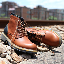 Misalwa 2019 Men Ankle Boots Autumn Winter Outdoor Working Shoes Motorbike Botas Brown New Cowhide Vintage