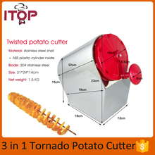 Fast Delivery! Stainless Steel Manual Twisted Potato Cutter,High Quality Spiral Potato Slicer, French Fry Cutting Machine(China)