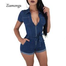 Ziamonga Fashion Women Jeans Bodysuit Sleeveless Turn Down Collar Denim  Playsuits Cotton Short Jeans Rompers Womens Jumpsuit 25b9078fea32