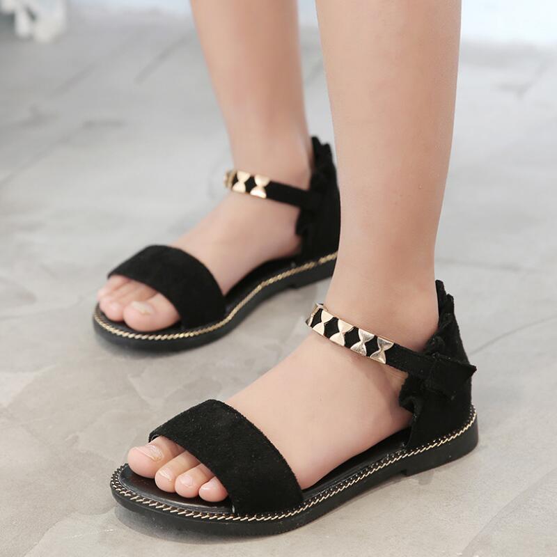 SKHEK Girls Sandals 2018 New Summer Fashion Kids Sandals Children Princess Flat Heels Shoes Beach Sandals For Girls EU 26-36