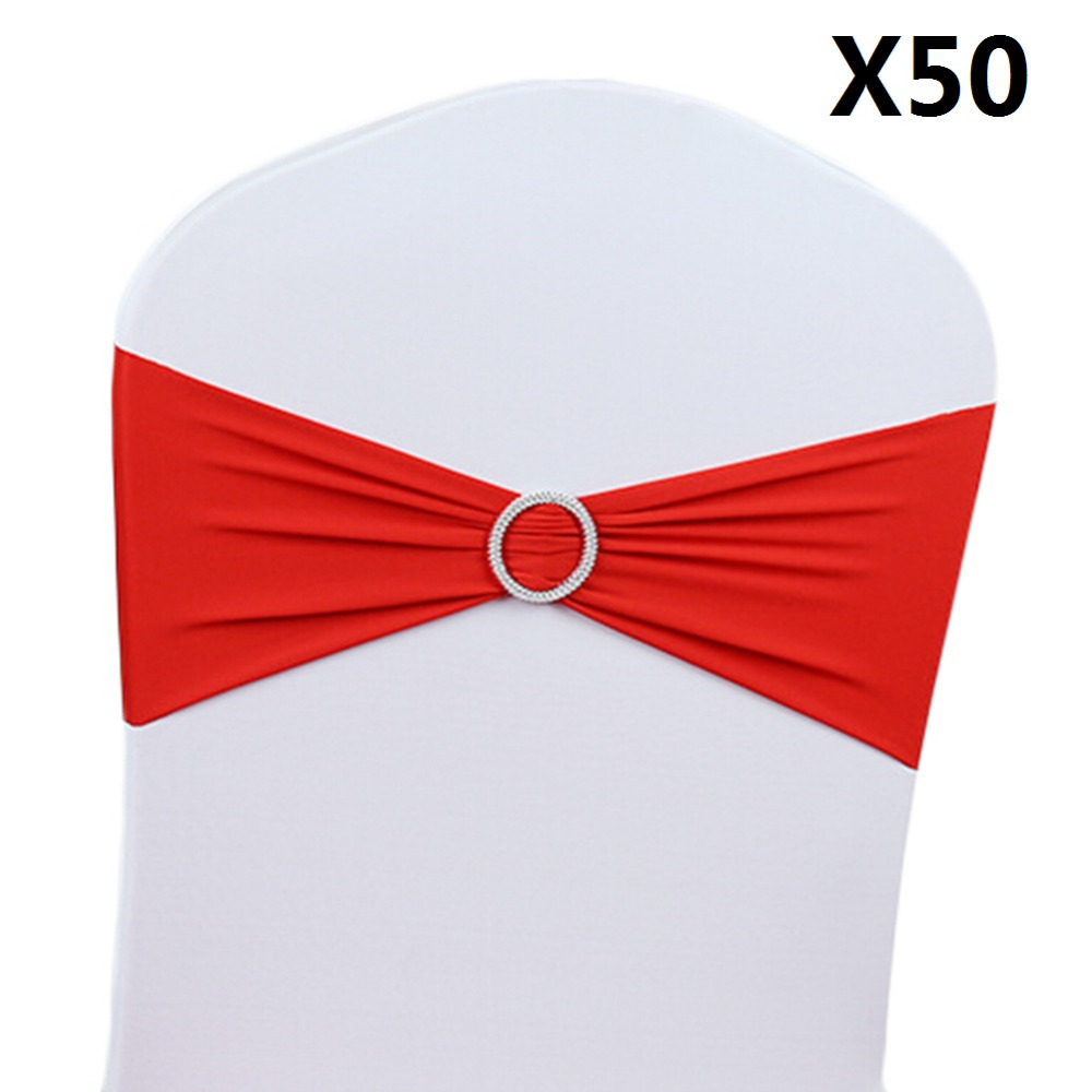 Hot Sale!!! 50pcs/Lot 15x36cm Stretch Wedding Belt Chair Cover Band With Buckle Slider Sashes Bow Decorations Wholesale