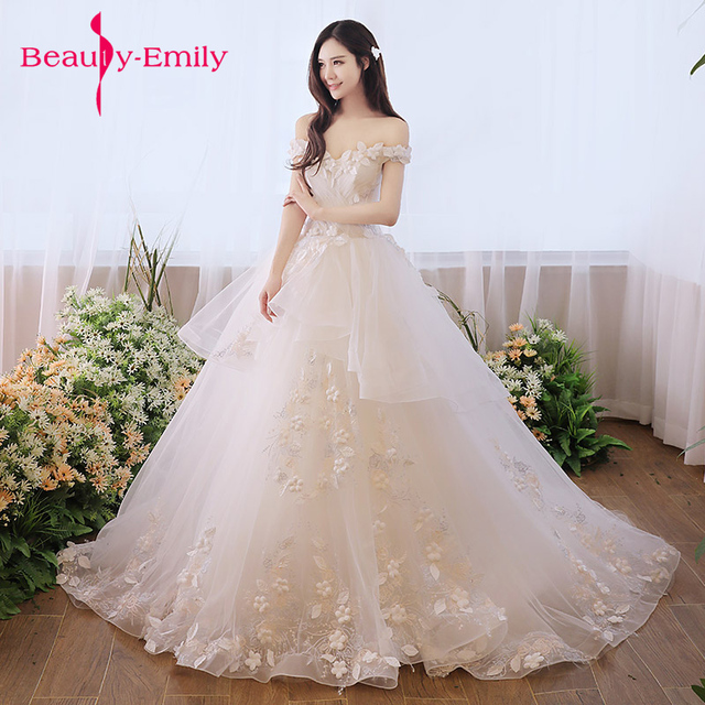 Beauty Emily Luxury Lace Up White Wedding Gown Dresses 2018 New