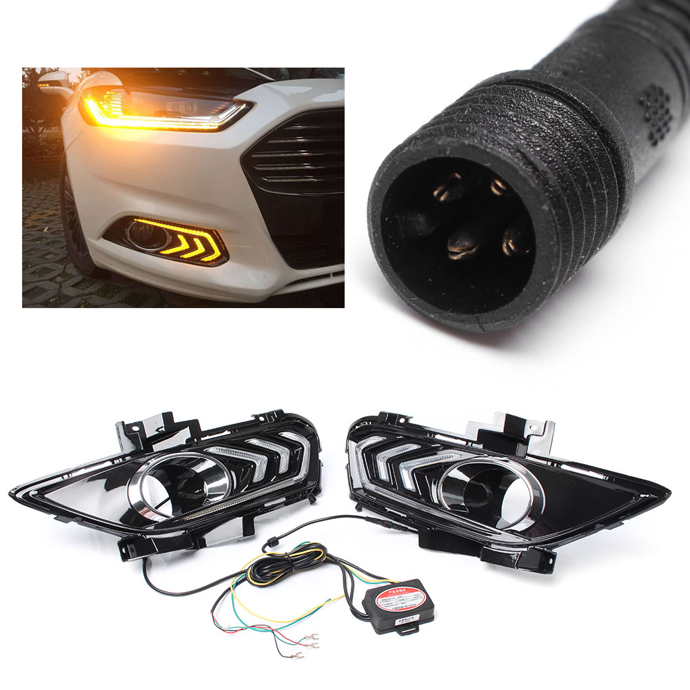 DRL LED Fog Light Daytime Running Work Light Driving Lamp For Ford Fusion Mondeo 2013-2015 Pair Car Indicators Replacement Kit eonstime 2pcs 12v car drl led daytime running light fog lights for ford mondeo fusion 2013 2014 2015 2016 car styling