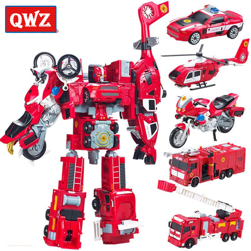 Alloy Deformation Robot Car Model <font><b>2</b></font> In 1 <font><b>Toy</b></font> For Children Boys Ladder Fire Truck <font><b>Transformation</b></font> Robots Vehicle Juguete <font><b>Toy</b></font> Gifts image