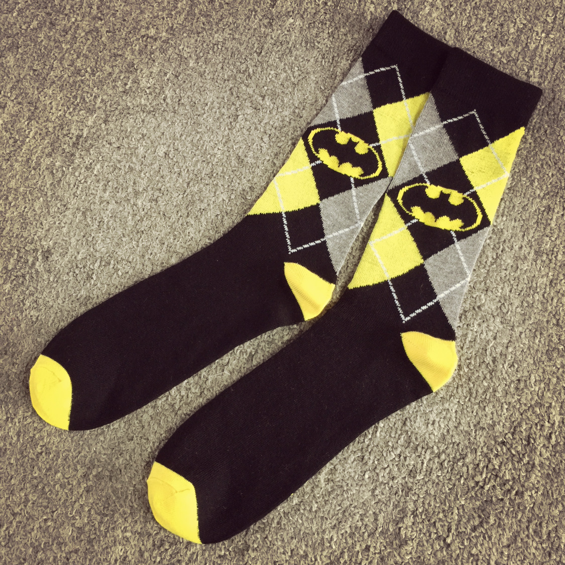 Europe And The United States NEW Batman In The Barrel Of Male Socks Personalized Classic Diamond Lattice Batman Short Socks