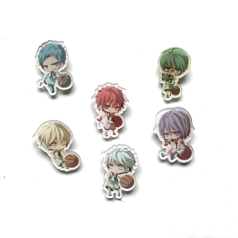 6pcs/set Kuroko no Basket Q Version Characters Pendant Ryota Midorima Shintaro Aomine Daiki Basketball Badge Brooch Funny Deco