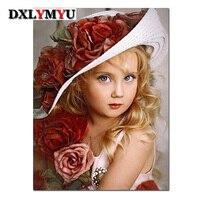 DIY 5D полный квадратный бриллиантами Вышивка цветок шляпа девушка Вышивка с кристаллами комплект Алмазная мозаика живопись украшение дома