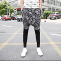 Special Men`s Hip Hop Harem Pants 100% Cotton Low Drop Crotch Floral Printed Hipster Baggy Joggers For Men Street Style