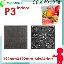 Aliexpress freeshipping cor cheia p3 led módulo 1r1g1b smd dotmatrix/p3 display led vídeo xxx aluguer fundição gabinete p4