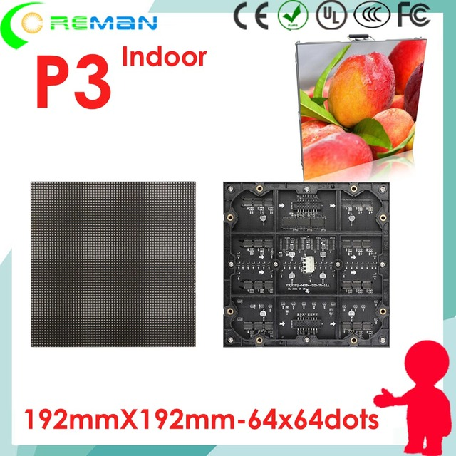 aliexpress freeshipping  full color p3 led module 1r1g1b smd dotmatrix / p3 led display video xxx  rental die casting cabinet p4