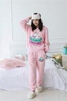 2018 Thick Warm Velour Pajamas Cute Unicornio Winter Pyjamas Women Unicorn Flannel Tracksuits Sets Sleepwear Pink Gray