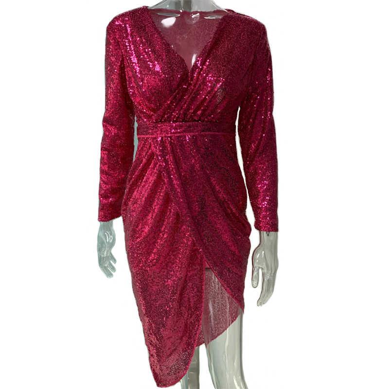 4deef3ccc3 Sexy Club Wear Party Dress Women Silver V Neck High Slit Long Sleeve Sequin  Dress Autumn Asymmetrical Bodycon vestidos mujer