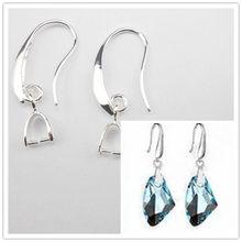 100 pçs atacado lote 925 prata cor jóias descobertas 925 prata esterlina cor brinco pitada ganchos earwire para cristal pérola