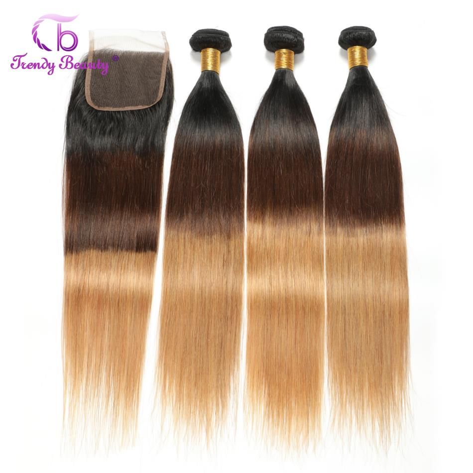 Ombre Peruvian Straight Human Hair 3 Bundles With 4x4 Inches Free Middle Three Part Closure Weave