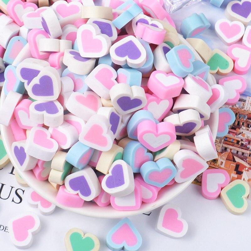 5 Glitter Print Heart Pink Flatback Kawaii Cabochon Embellishment Decoden Craft