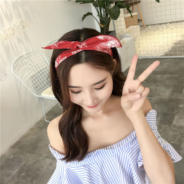 14 Metal Wire Scarf Headband Headwear Women Rabbit Ear Hairband Fabric Hairwrap Tie Head Band Bowknot Hair Accessories For Women 30
