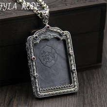 FYLA MODE Religious Gawu Box Buddha Pendant High Quality S925 Sterling Silver National Element Thang-ga Pendant 40*62MM  45G