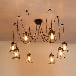 E27 vintage loft lampy pająk żelaza przemysł lekki wiatr bar restauracja salon jadalnia cafe pub club office żyrandol