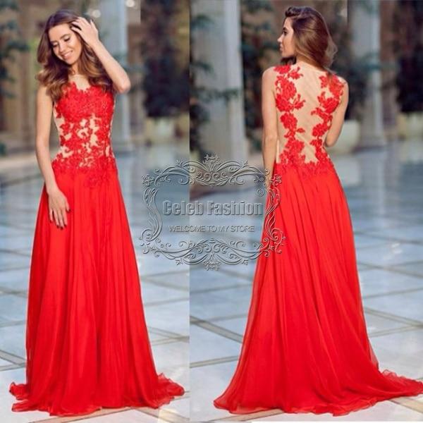 9075a9f71 2017 Vestido De Fiesta Apliques de Encaje Rojo O Cuello Opacidad Volver  Elegante Vestido Largo de Noche Formal Vestidos de Noche en Vestidos de  baile de ...