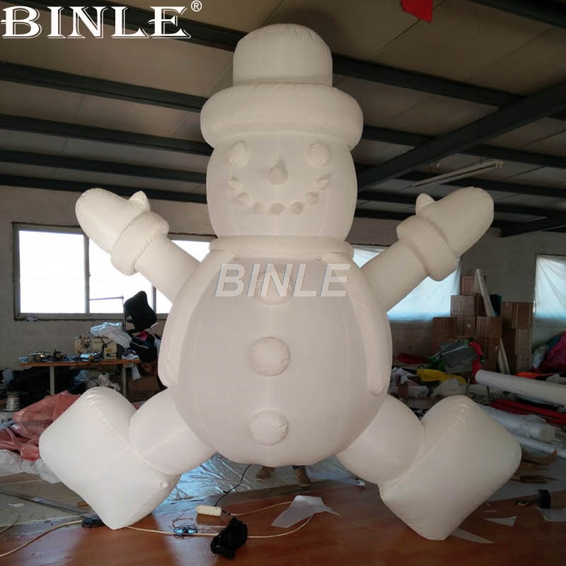 High quality large inflatable christmas yard decorations white giant snowman balloon with led lights for sale x085 hot sell giant 4 m christmas inflatable snowman for christmas decoration with air blower
