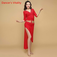2018 New Belly Dance Costume Crop. Top+Long Skirt 2pc/set Suit for Womens Performance Suit Belly Dance Wear Training Clothing