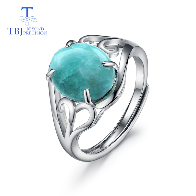 TBJ,natural gemstone amazonite rings Larimar rings 925 sterling silver fashion fine jewelry for girls nice birthday gift